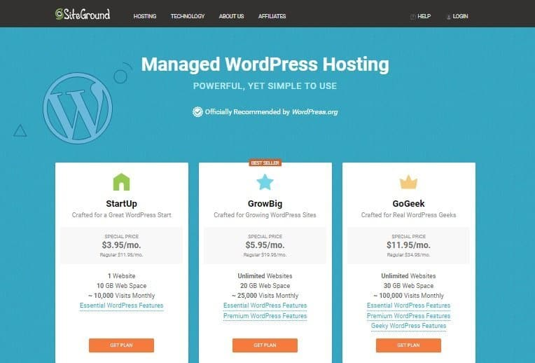 Siteground WordPress Landing Page